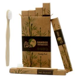 Cepillos Dentales de Bambú - 4 Ud. (2 Adulto 2 Niño)