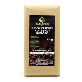 Chocolate Puro 72% y Almendras Con Stevia 150 Gr. Tedoysalud
